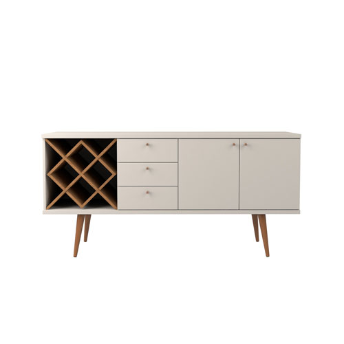 Utopia 4 Bottle Wine Rack Buffet with 3 Drawers and 2 Shelves in White Gloss and Maple Cream