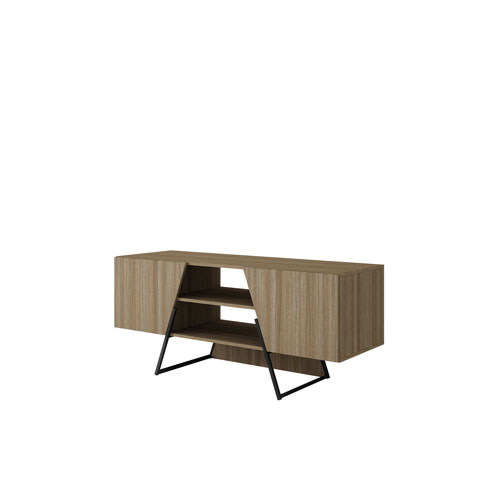 Ellis 53-Inch TV Stand with 4 Shelves in Dark Oak and Black