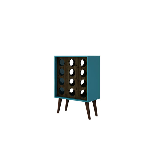 Lund 12 Bottle Wine Cabinet and Display in Aqua and Rustic Brown