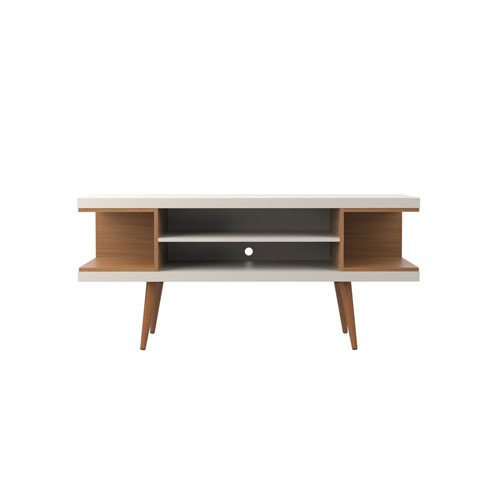 Utopia 53-Inch TV Stand with Splayed Wooden Legs and 4 Shelves in Off White and Maple Cream