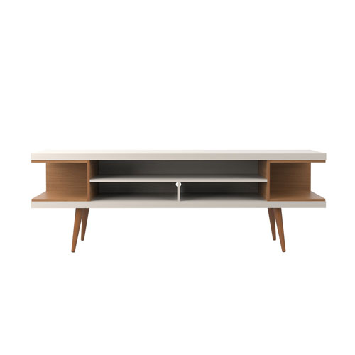Utopia 70.47-Inch TV Stand with Splayed Wooden Legs and 4 Shelves in Off White and Maple Cream