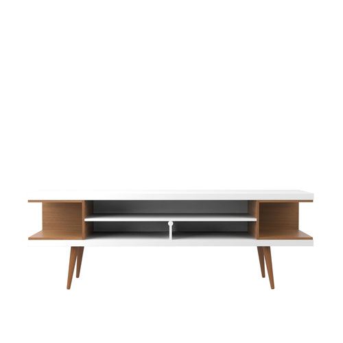 Utopia 70.47-Inch TV Stand with Splayed Wooden Legs and 4 Shelves in White Gloss and Maple Cream
