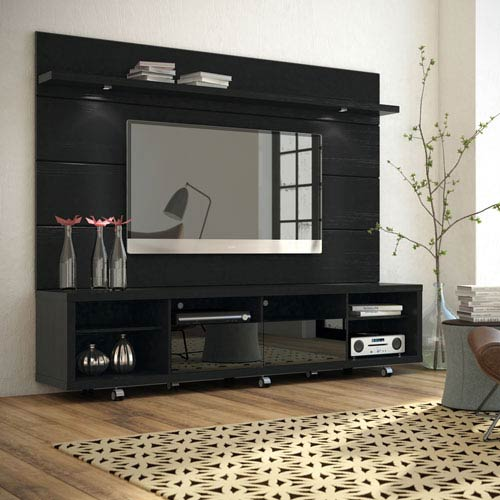 Cabrini Black TV Stand and Panel