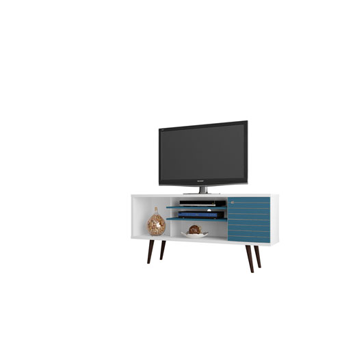 Manhattan Comfort Liberty 53-Inch TV Stand with 5 Shelves and 1 Door in White and Aqua Blue with Solid Wood Legs