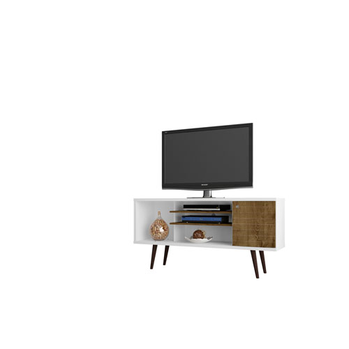 Liberty 53-Inch TV Stand with 5 Shelves and 1 Door in White and Rustic Brown with Solid Wood Legs