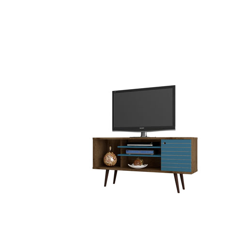 Liberty 53-Inch TV Stand with 5 Shelves and 1 Door in Rustic Brown and Aqua Blue with Solid Wood Legs