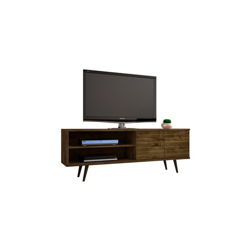 Liberty 63-Inch TV Stand with 3 Shelves and 2 Doors in Rustic Brown with Solid Wood Legs
