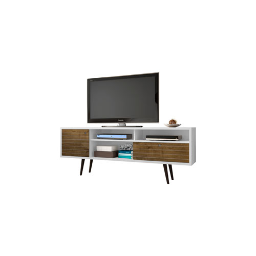 Liberty 71-Inch TV Stand with 4 Shelving Spaces and 1 Drawer in White and Rustic Brown with Solid Wood Legs