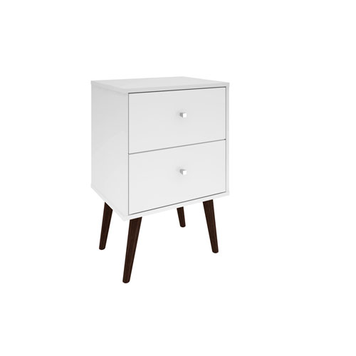 Liberty Nightstand with 2 Full Extension Drawers in White with Solid Wood Legs