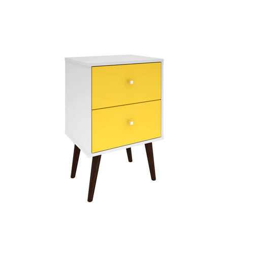 Liberty Nightstand with 2 Full Extension Drawers in White and Yellow with Solid Wood Legs