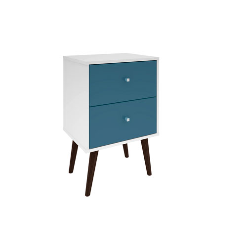 Liberty Nightstand with 2 Full Extension Drawers in White and Aqua Blue with Solid Wood Legs