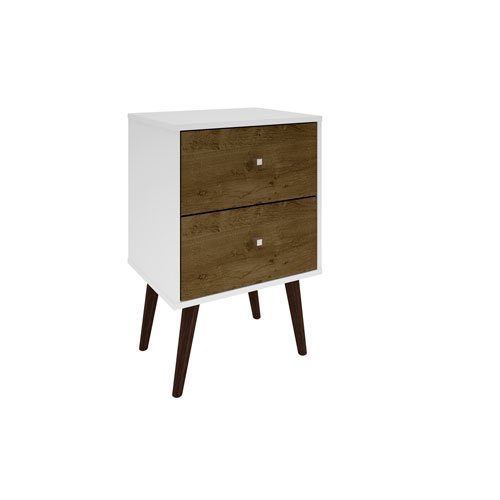 Manhattan Comfort Liberty Nightstand with 2 Full Extension Drawers in White and Rustic Brown with Solid Wood Legs