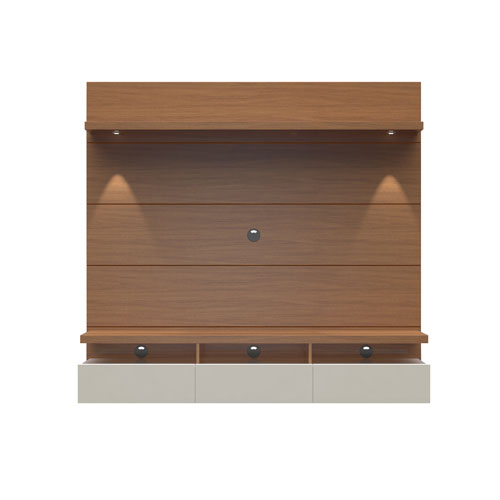 Manhattan Comfort Cabrini Floating Wall Theater Entertainment Center in Maple Cream and Off White