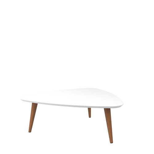 Utopia 11.81-Inch High Triangle Coffee Table with Splayed Legs in White Gloss and Maple Cream