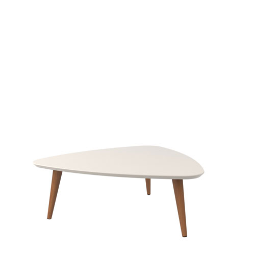Utopia 11.81-Inch High Triangle Coffee Table with Splayed Legs in Off White and Maple Cream