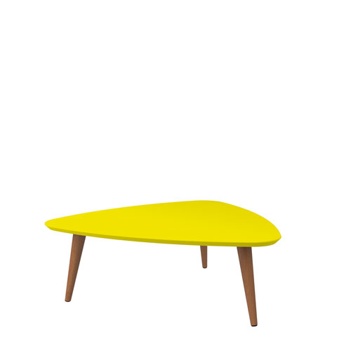 Utopia 11.81-Inch High Triangle Coffee Table with Splayed Legs in Yellow