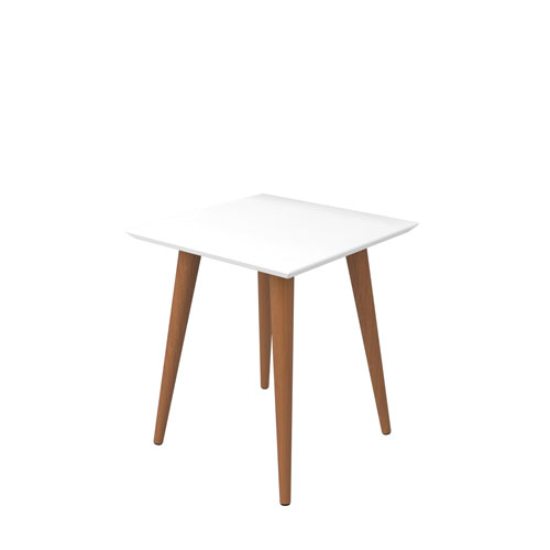 Manhattan Comfort Utopia 20-Inch High Square End Table With Splayed Wooden Legs in Off White and Maple Cream