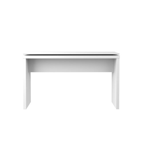 Lincoln 53-Inch Entryway Table in White Gloss and Maple Cream