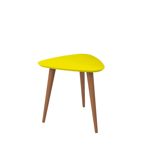 Utopia 20-Inch High Triangle End Table With Splayed Wooden Legs in Yellow