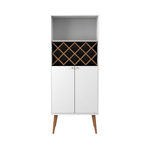 Utopia 10 Bottle Wine Rack China Storage Closet with 4 Shelves in White Gloss and Maple Cream