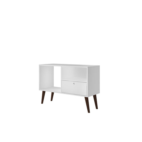 Manhattan Comfort Bromma 35-Inch TV Stand with 1 Drawer and 2 Shelves in White