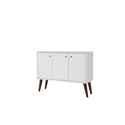 Manhattan Comfort Bromma 35-Inch Sideboard with 3 Shelves and 3 Doors in White