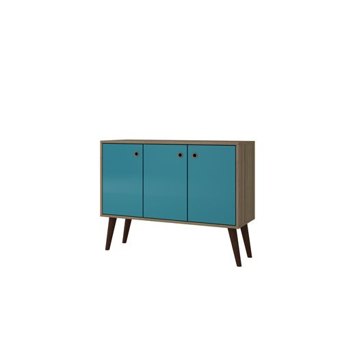 Bromma 35-Inch Sideboard with 3 Shelves and 3 Doors in Oak and Aqua