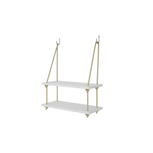 Manhattan Comfort Uptown 2.0 - 17.5-Inch Rope Swing with 2 Shelves in White