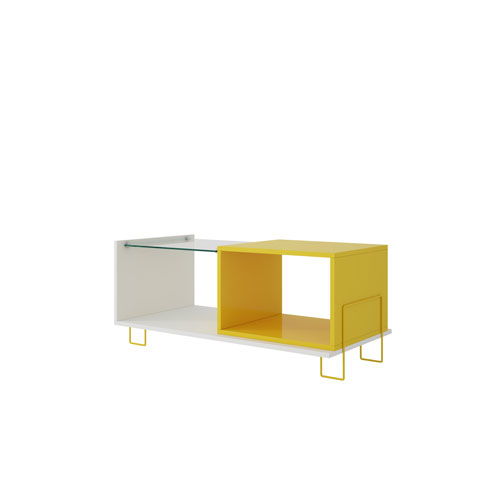 Boden 17.5-Inch Coffee Table with 2 Shelves in White and Yellow