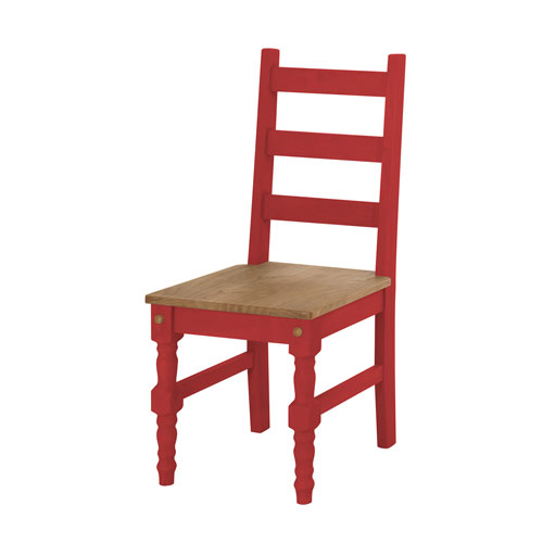 Manhattan Comfort Jay Set of 2 Solid Wood Dining Chair in Red Wash