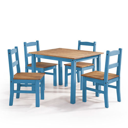 York 5-Piece Solid Wood Dining Set with 1 Table and 4 Chairs in Blue Wash