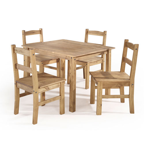 York 5-Piece Solid Wood Dining Set with 1 Table and 4 Chairs in Nature