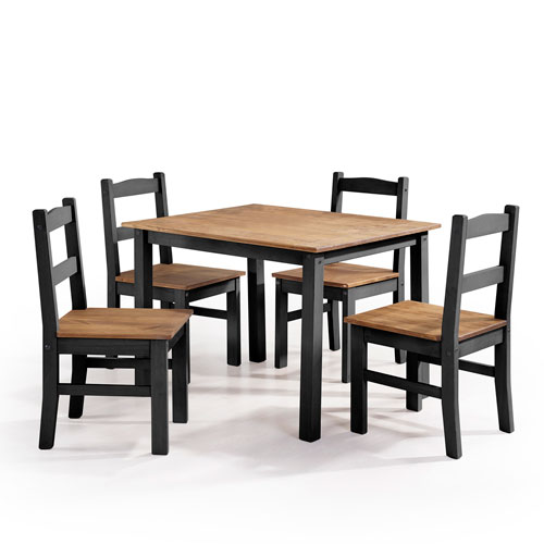 York 5-Piece Solid Wood Dining Set with 1 Table and 4 Chairs in Black Wash