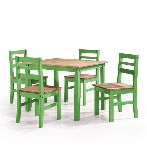 Manhattan Comfort Maiden 5-Piece Solid Wood Dining Set with 1 Table and 4 Chairs in Green Wash