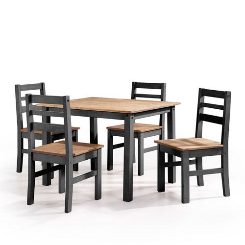 Maiden 5-Piece Solid Wood Dining Set with 1 Table and 4 Chairs in Black Wash