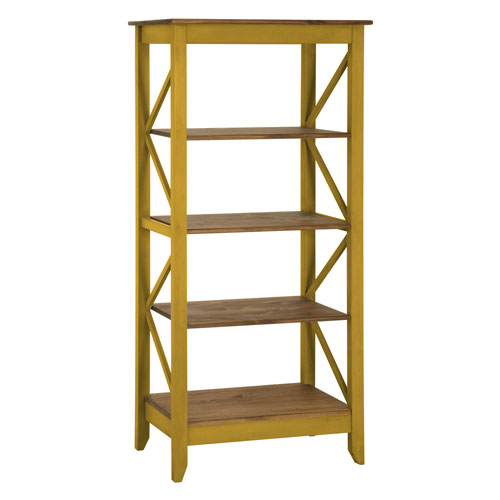 Manhattan Comfort Jay 31.5-Inch Solid Wood Bookcase with 4 Shelves in Yellow Wash