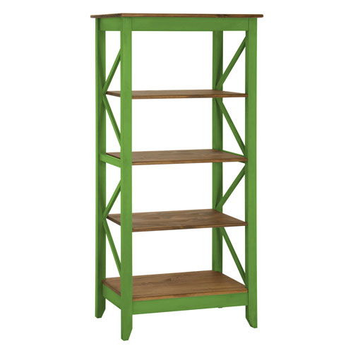 Jay 31.5-Inch Solid Wood Bookcase with 4 Shelves in Green Wash