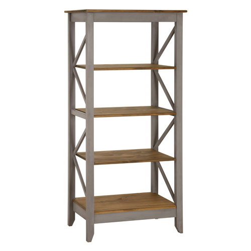 Jay 31.5-Inch Solid Wood Bookcase with 4 Shelves in Gray Wash