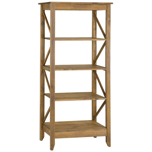 Manhattan Comfort Jay 31.5-Inch Solid Wood Bookcase with 4 Shelves in Nature