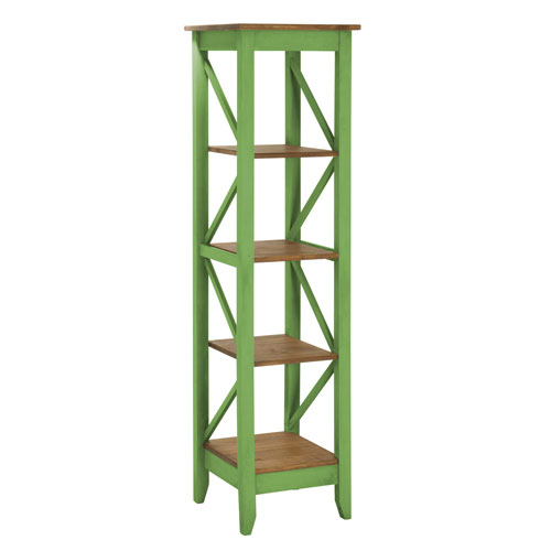 Jay 18.5-Inch Solid Wood Bookcase with 4 Shelves in Green Wash