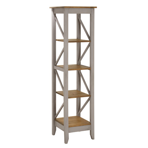 Jay 18.5-Inch Solid Wood Bookcase with 4 Shelves in Gray Wash