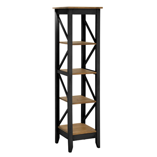 Manhattan Comfort Jay 18.5-Inch Solid Wood Bookcase with 4 Shelves in Black Wash