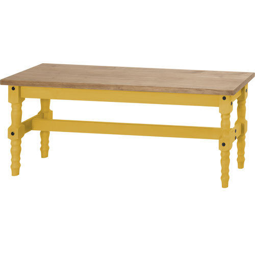 Manhattan Comfort Jay 47-Inch Solid Wood Dining Bench in Yellow Wash
