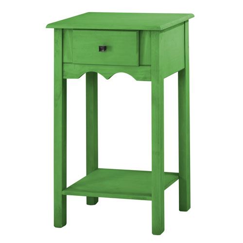 Jay 35-Inch Tall End Table with 1 Full Extension Drawer in Green Wash