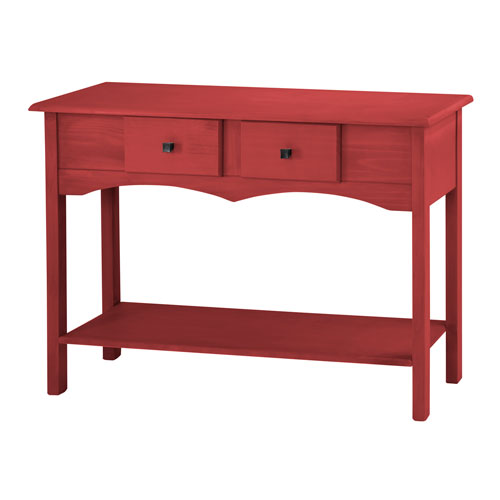Manhattan Comfort Jay 49-Inch Entryway Table with 2 Full Extension Drawers in Red Wash