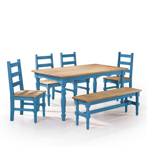 Manhattan Comfort Jay 6-Piece Solid Wood Dining Set with 1 Bench, 4 Chairs, and 1 Table in Blue Wash