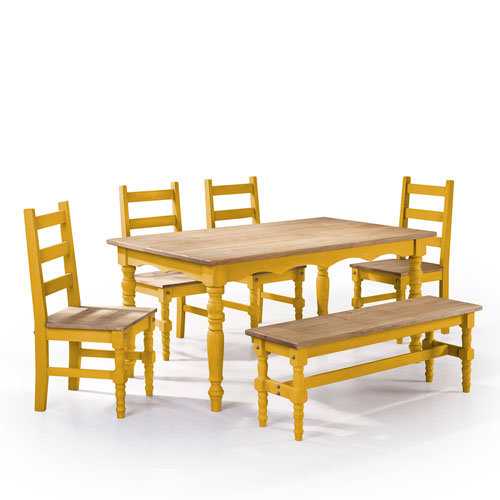 Manhattan Comfort Jay 6-Piece Solid Wood Dining Set with 1 Bench, 4 Chairs, and 1 Table in Yellow Wash
