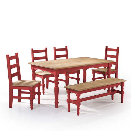 Jay 6-Piece Solid Wood Dining Set with 1 Bench, 4 Chairs, and 1 Table in Red Wash