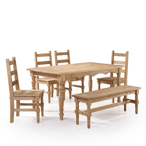 Manhattan Comfort Jay 6-Piece Solid Wood Dining Set with 1 Bench, 4 Chairs, and 1 Table in Nature