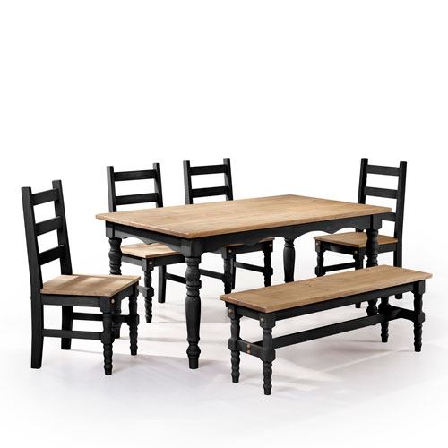 Manhattan Comfort Jay 6-Piece Solid Wood Dining Set with 1 Bench, 4 Chairs, and 1 Table in Black Wash